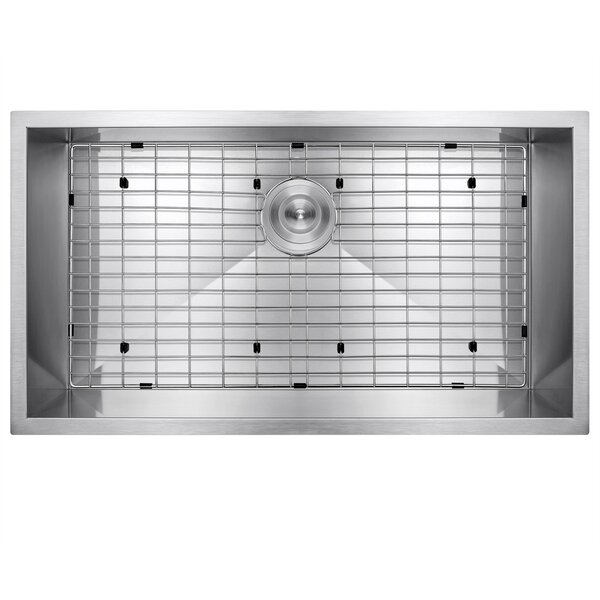 32 x 18 Undermount Stainless Steel Single Bowl Kitchen Sink w/ Dish Grid and Drain Strainer Kit by AKDY