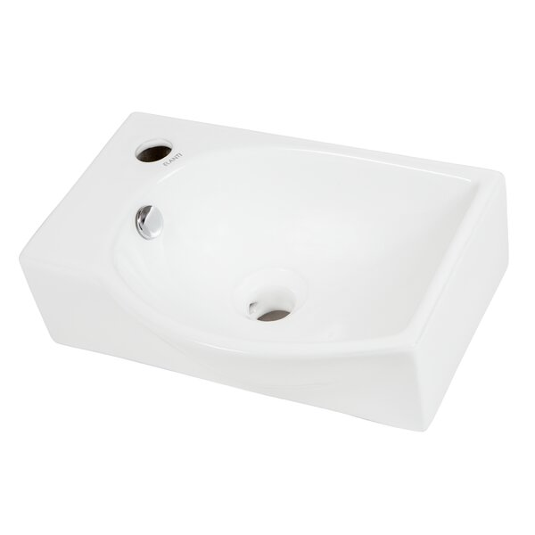 Right-Facing Ceramic 16'' Wall-Mount Bathroom Sink by Elanti