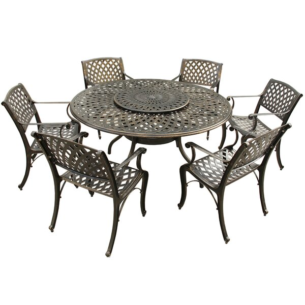 Cassady Mesh Lattice 7 Piece Dining Set by Fleur De Lis Living
