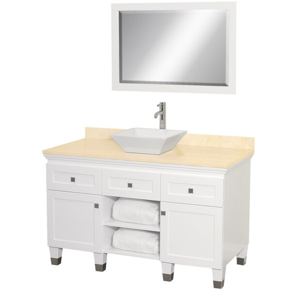 Premiere 48 Single White Bathroom Vanity Set with Mirror by Wyndham Collection