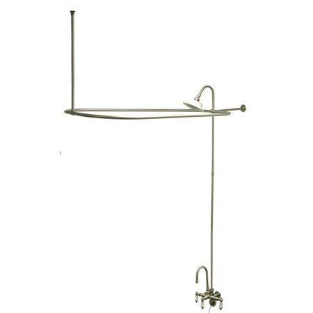 Vintage Triple Handle Wall Mounted Clawfoot Tub Faucet Trim With Handshower By Kingston Brass
