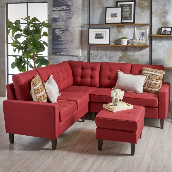 New Style Vanhorn Symmetrical Modular Sectional with Ottoman by Ebern Designs by Ebern Designs