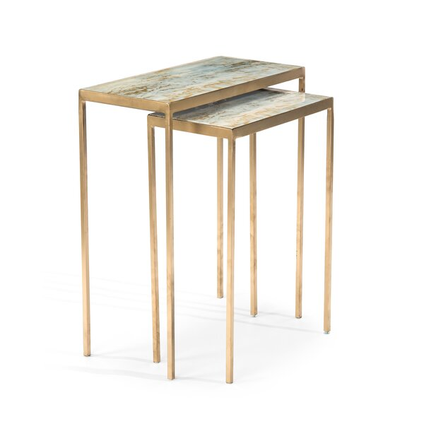 Lustrous Sky Stacking 2 Piece Nesting Tables By John-Richard