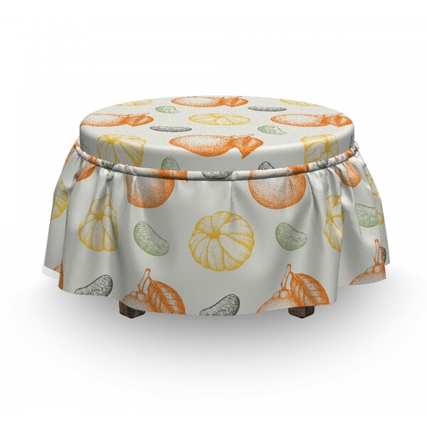 Engraved Drawn Mandarins Ottoman Slipcover (Set Of 2) By East Urban Home