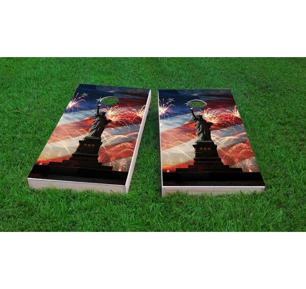 American Flag, Fireworks and Lady Liberty Cornhole Game (Set of 2) by Custom Cornhole Boards