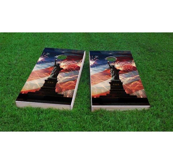 American Flag, Fireworks and Lady Liberty Cornhole Game (Set of 2) by Custom Cornhole Boards