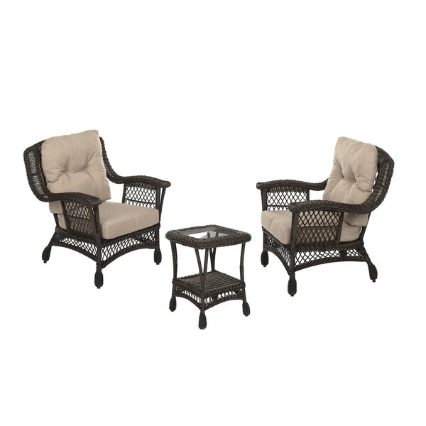 Valerie 3 Piece Rattan Seating Group with Cushions by Bayou Breeze Bayou Breeze