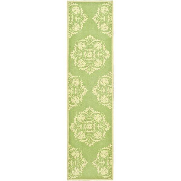 Helena Hand-Hooked Wool Green/Beige Area Rug by Charlton Home