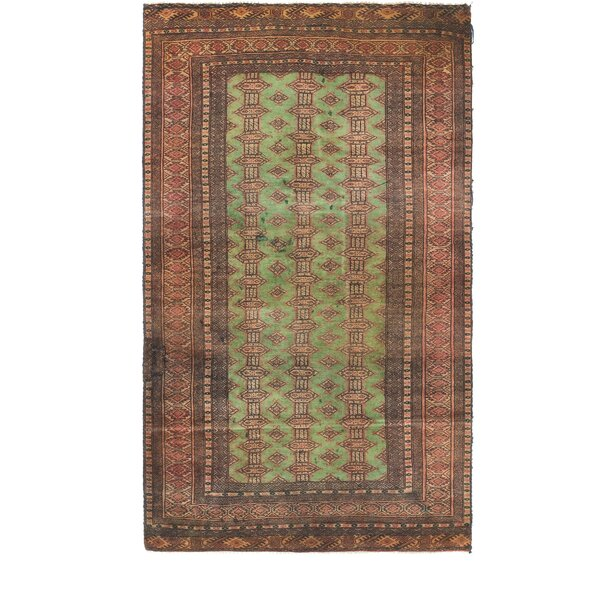 One-of-a-Kind Tekke Hand-Knotted Wool Green/Brown Area Rug by Unique Loom