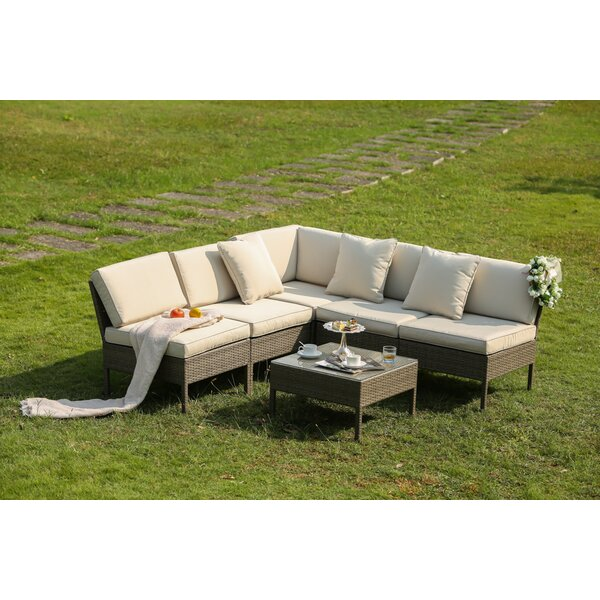 Bromborough 6 Piece Rattan Sectional Seating Group with Cushions by One Allium Way