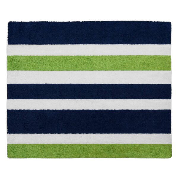 Navy Blue and Lime Green Stripe Bath Rug by Sweet Jojo Designs