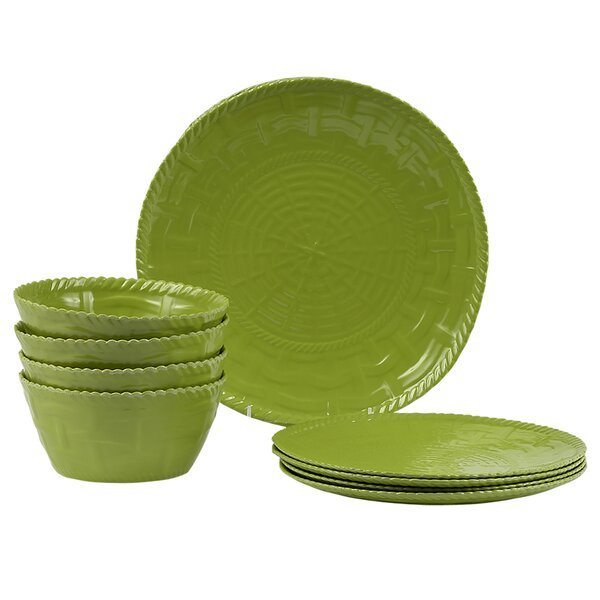 Woven Melamine 12 Piece Dinnerware Set, Service for 4 by Encore Concepts