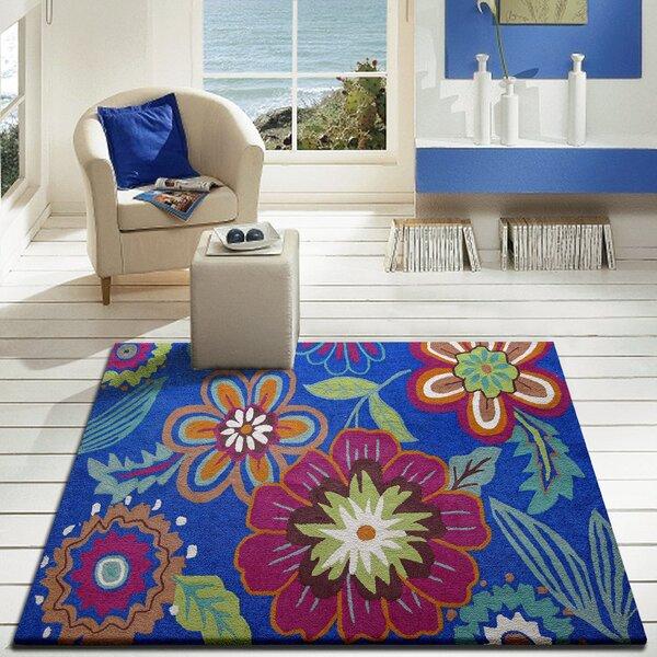 Vivid Blue Floral Indoor/Outdoor Area Rug by Rug Factory Plus