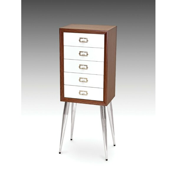 Brycen Metal and Wood Free Standing Jewelry Armoire by George Oliver