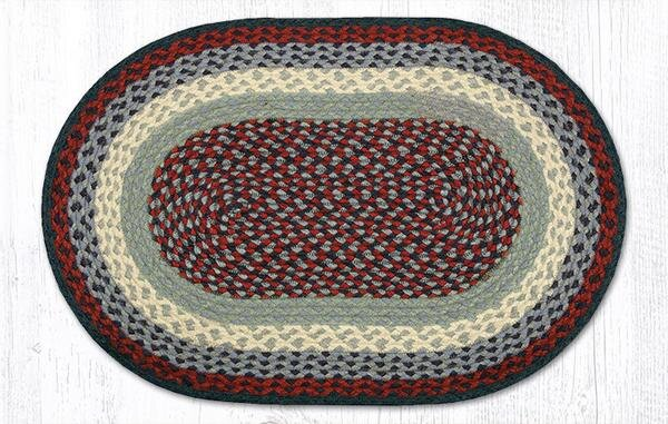 Blue/Burgundy Braided Area Rug by Earth Rugs