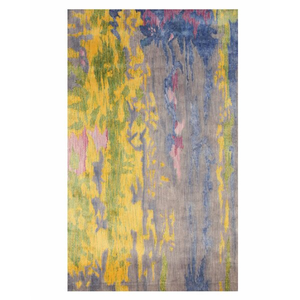 Fiorino Contemporary Abstract Hand-Tufted Blue/Yellow Area Rug by Latitude Run