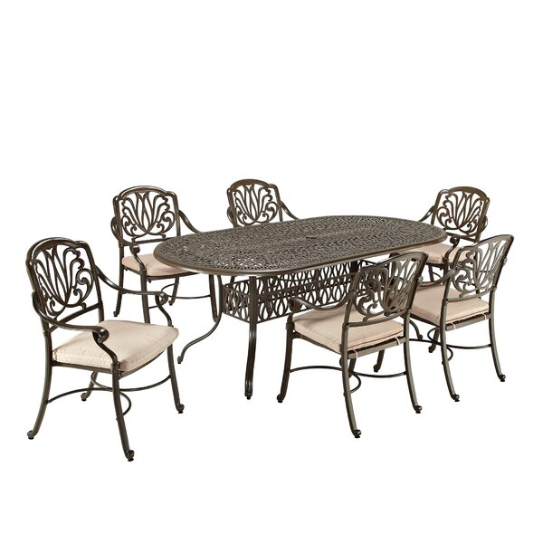 Leora 7 Piece Dining Set with Cushions by One Allium Way