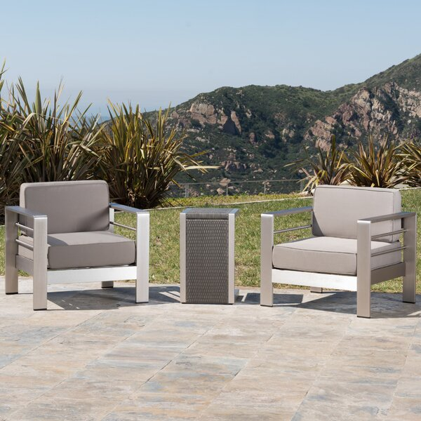 Durbin 3 Piece Conversation Set with Cushions by Wade Logan