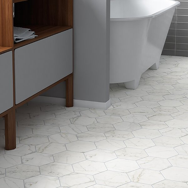 Karra Carrara 7 x 8 Porcelain Field Tile in White/