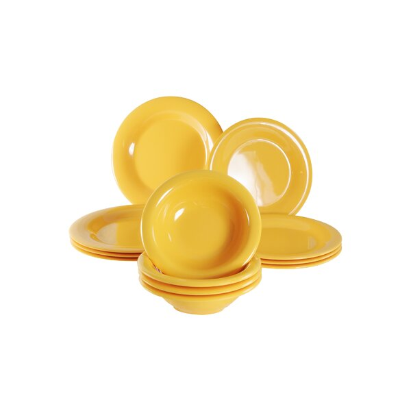 Jeri Melamine 12 Piece Dinnerware Set, Service for 4 by Ebern Designs