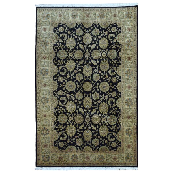 One-of-a-Kind Slagen Traditional Oriental Hand Woven Rectangle Wool Navy Area Rug by Isabelline
