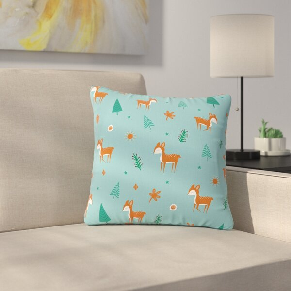 Cristina Bianco Cute Deer Pattern Kids Outdoor Throw Pillow by East Urban Home