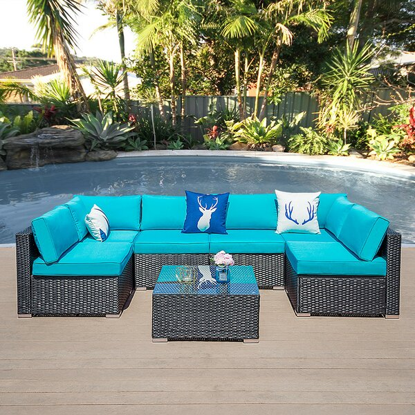 Sinem Outdoor 7 Piece Rattan Sectional Seating Group with Cushions by Latitude Run