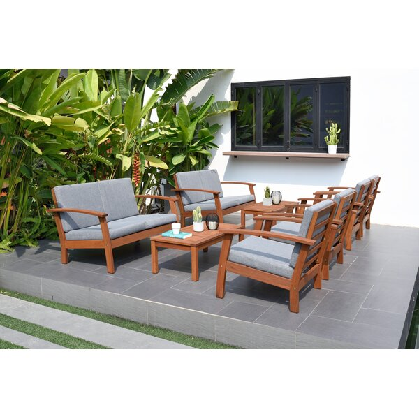 Olinda 8 Piece Teak Sofa Seating Group with Cushions by Wrought Studio