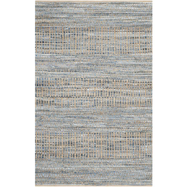 Kellar Hand-Woven Natural/Blue Area Rug by Beachcrest Home