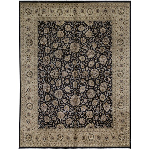 One-of-a-Kind Worsted Hand-Knotted Black/Beige 12'1 x 15'5 Wool Area Rug
