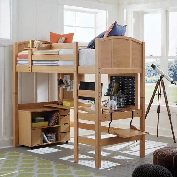 Sandisfield Twin Loft Bed with Media Cart by Zoomie Kids