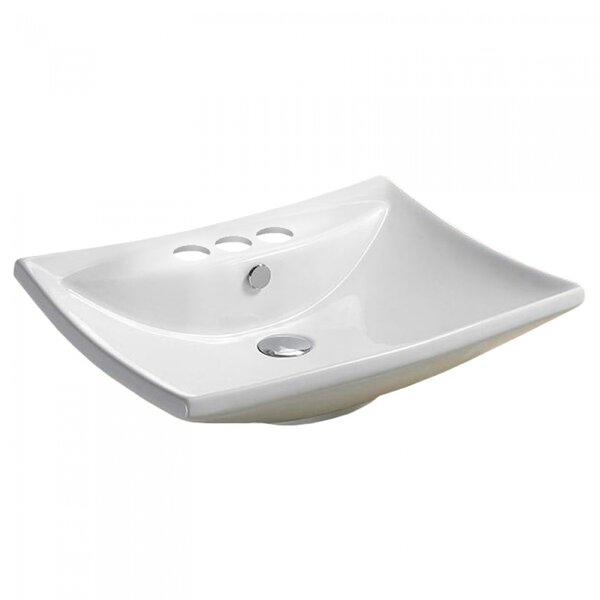 Center Drilling Ceramic Rectangular Wall Mount Bathroom Sink with Overflow