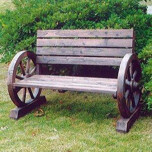 Cartwheel 2 Seater Wooden Bench