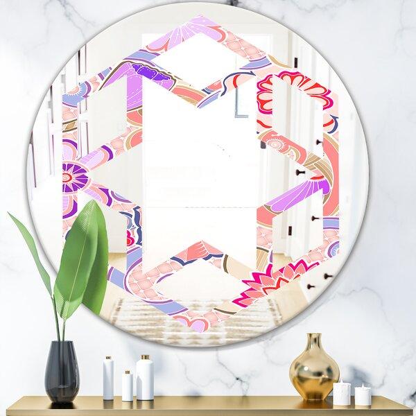 Hexagon Star Floral Botanical XIII Modern Farmhouse Frameless Wall Mirror