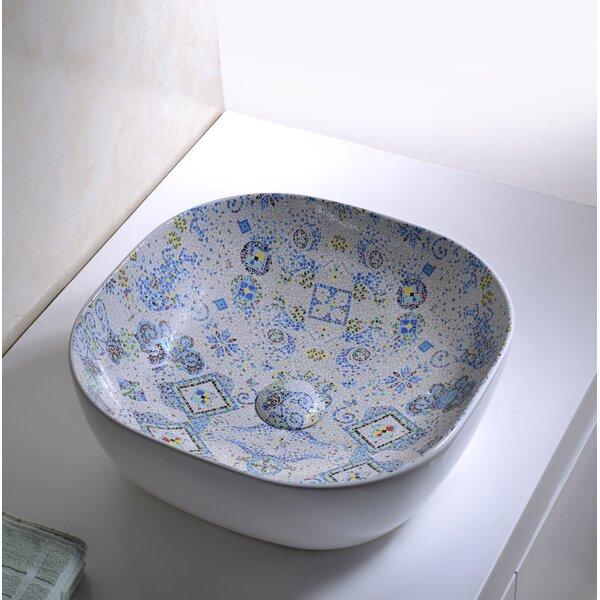 Byzantine Mosaic Vitreous China Circular Vessel Bathroom Sink