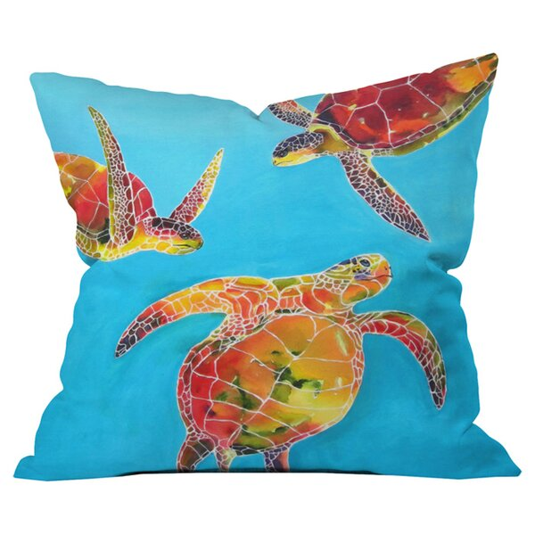 Clara Nilles Tie Dye Sea Turtles Outdoor Throw Pillow by Deny Designs