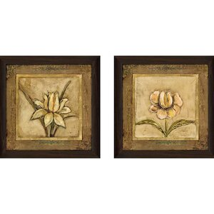 'Tulip Bronze' 2 Piece Framed Acrylic Painting Print Set Under Glass by Andover Mills