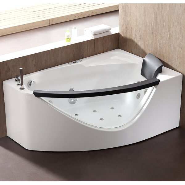Rounded 59 x 39.4 Corner Whirlpool Bathtub by EAGO