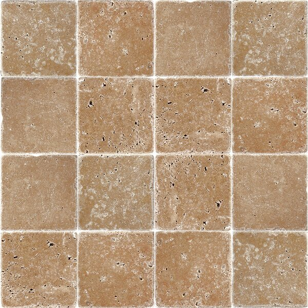 4 x 4 Travertine Field Tile in Expresso by Parvatile