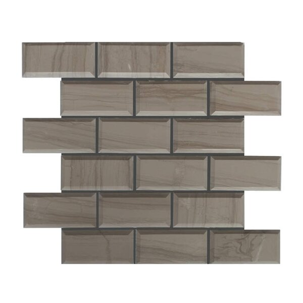Pillow Edge Polished 2 x 4 Natural Stone Mosaic Tile in Athens Gray by QDI Surfaces