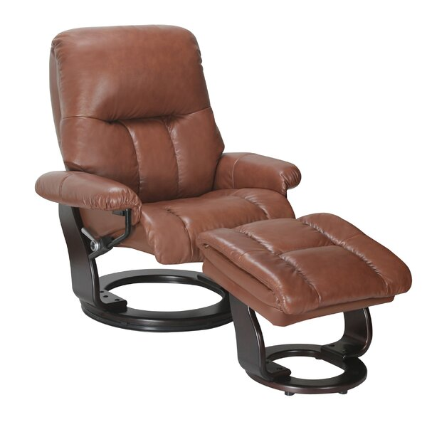 Febe Leather Manual Swivel Recliner with Ottoman by Red Barrel Studio Red Barrel Studio