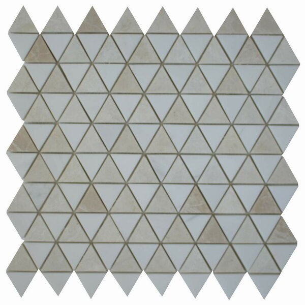 Diamantes 0.38 x 0.38 Marble Mosaic Tile in White/Light Beige by Ephesus Stones