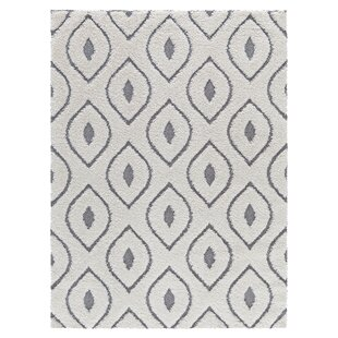 Compare prices Darwin Platinum Shag White Area Rug By Corrigan Studio