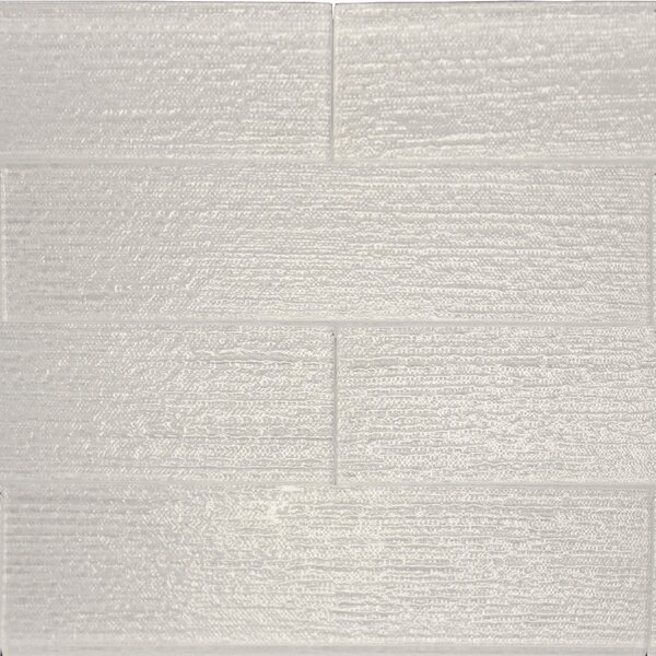 Linen Textured 3 x 12 Glass Subway Tile in Snow by The Bella Collection