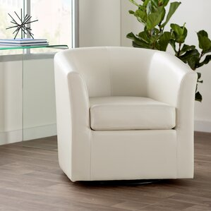 Wilmore Faux Leather Swivel Barrel Chair
