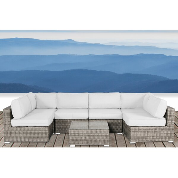 Hettie Resort Grade Set 7 Piece Rattan Sunbrella Sectional Seating Group with Sunbrella Cushions by Sol 72 Outdoor Sol 72 Outdoor