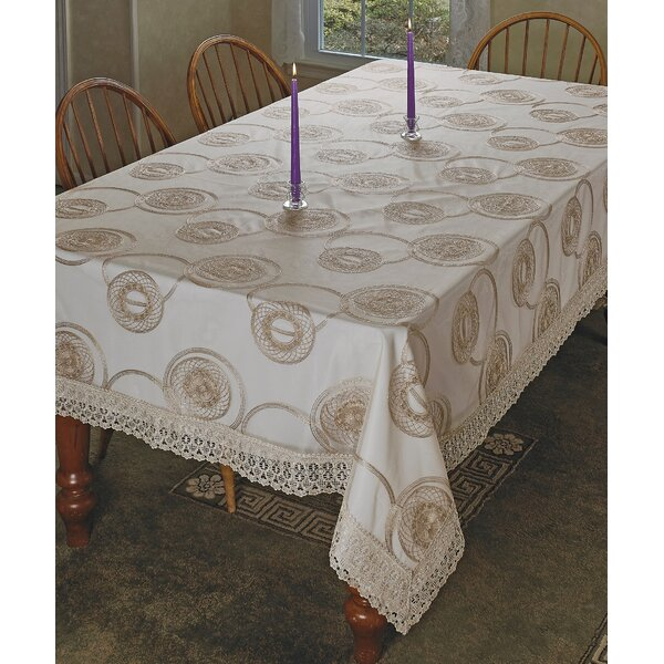 Marvellous Lace with Embroidered Scroll Tablecloth by Violet Linen