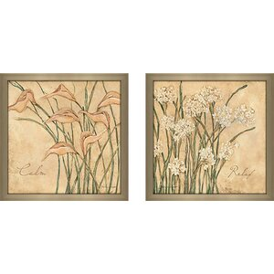 Relax Flowers' 2 Piece Framed Acrylic Painting Print Set Under Glass by Ophelia & Co.