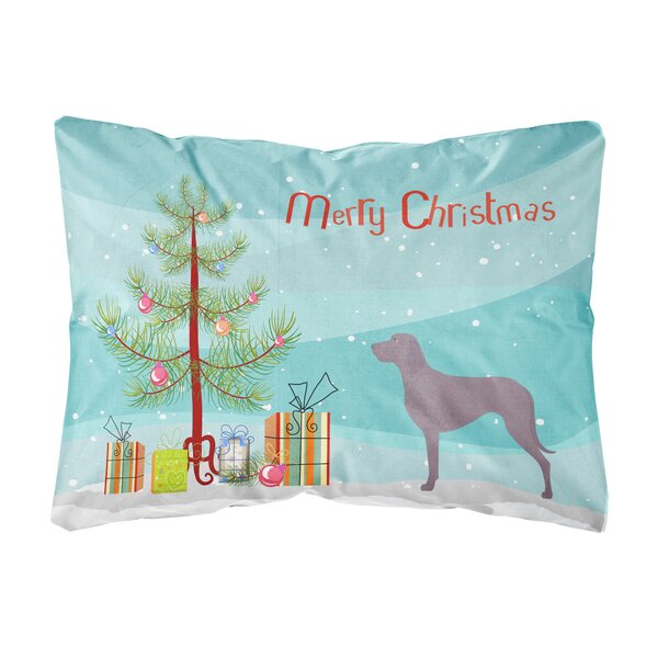 Lundeen Weimaraner Christmas Canvas Indoor/Outdoor Throw Pillow by The Holiday Aisle