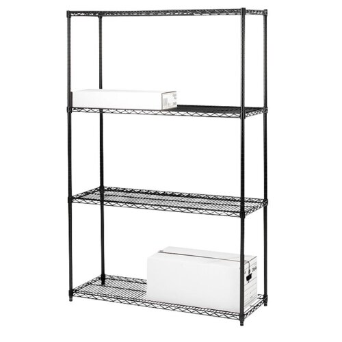Tier Industrial Wire 72 H 4 Shelf Shelving Unit Starter by Lorell